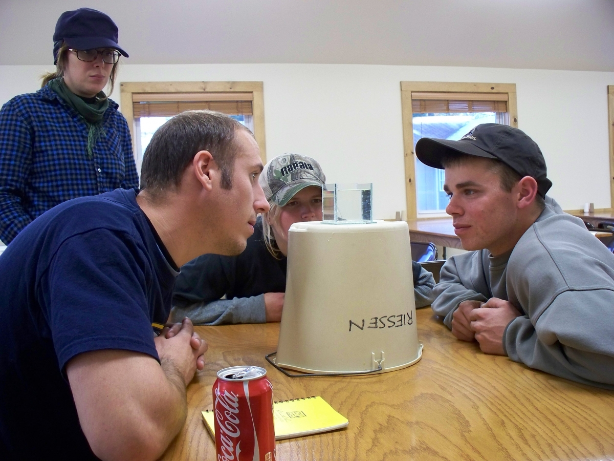 Four people look intently at a small cup of water set on top of an upside-down bucket. There are little white specks in the cup of water.