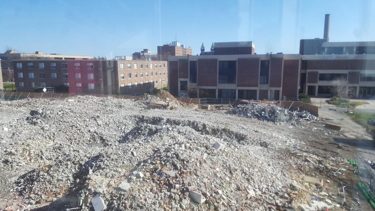A field of rubble in a construction zone.