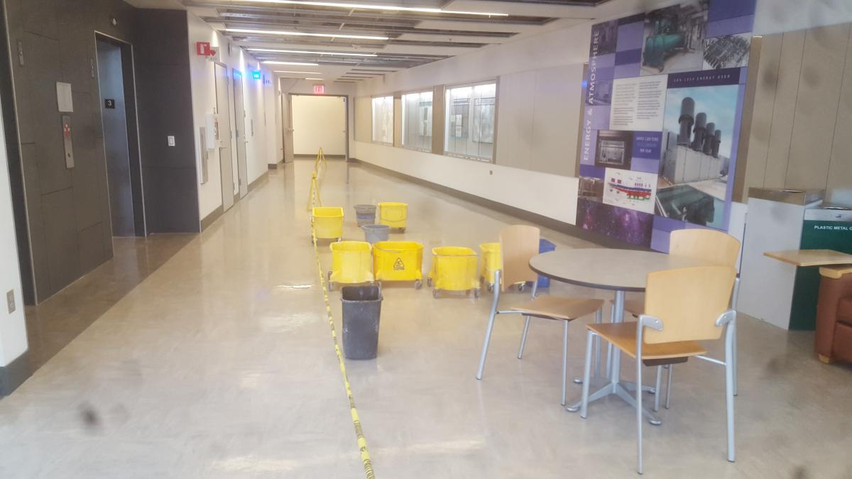 A hallway with many buckets in it to catch leaks.
