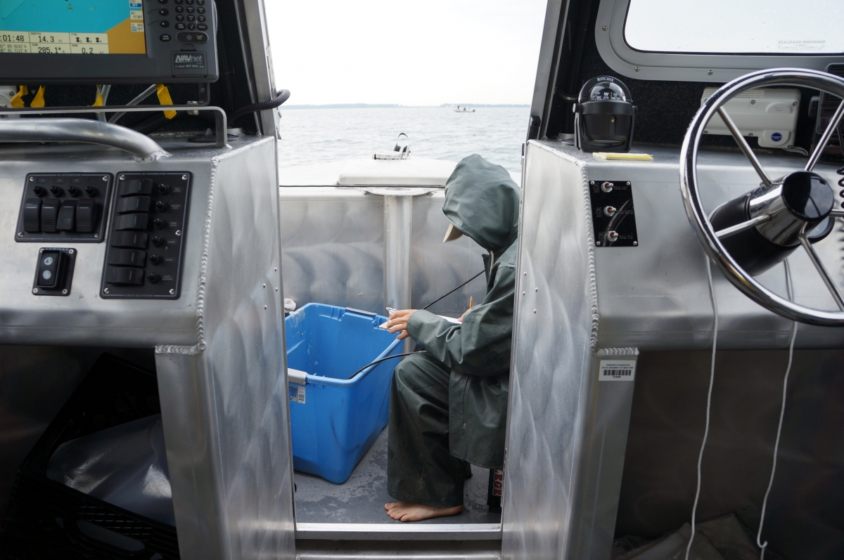 A person sits in the front of a boat wearing rain gear and holding a cable