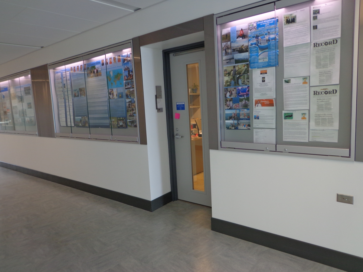 Three lighted display cases with posters and papers in them flank an office door