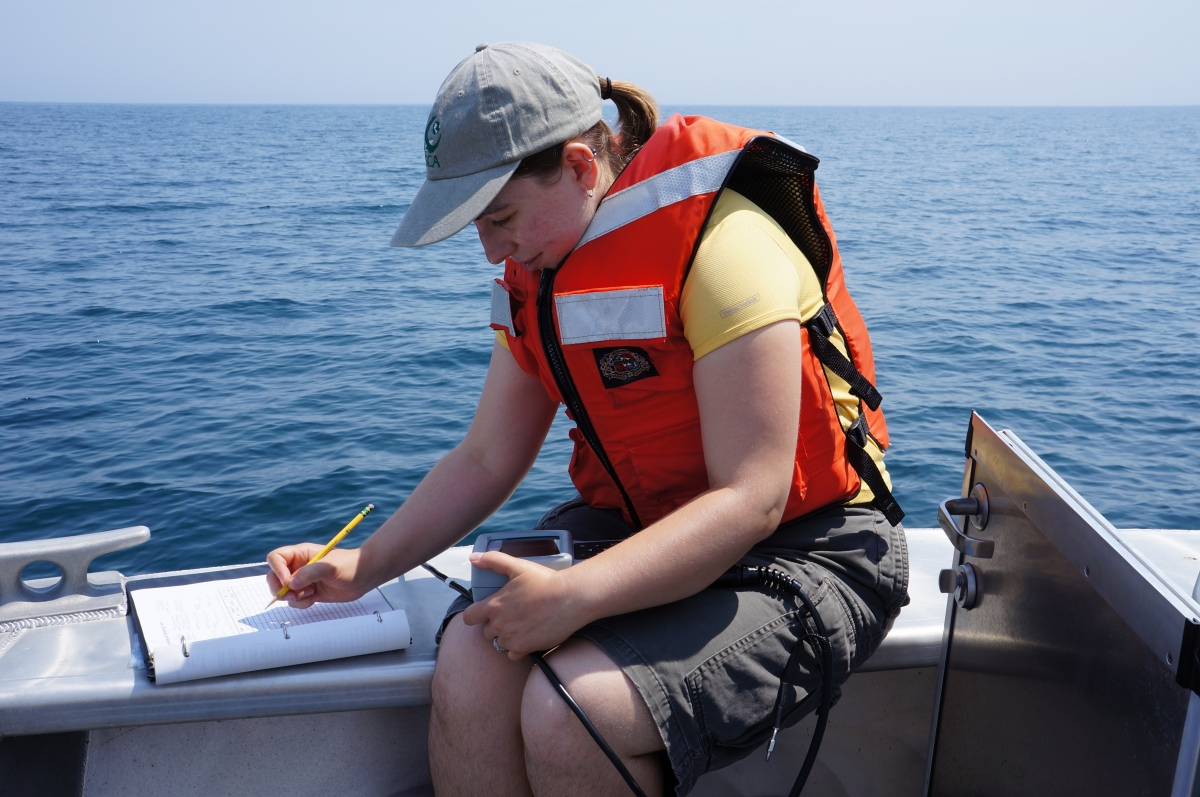 A person in a life jacket sits at the edge of a boat with an instrument in their lap. They are writing on a datasheet.