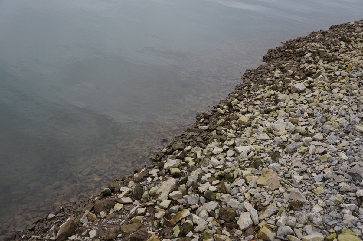 A steep stretch of gravel leading down to the water. Some of the stones are grey while the ones closer to the water are brown, possibly because they are wet or covered in algae, as if they are normally covered.