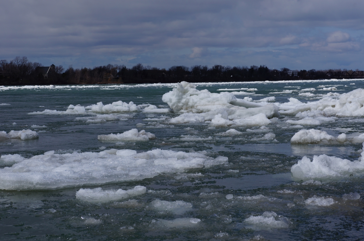 Large chunks of ice in the river
