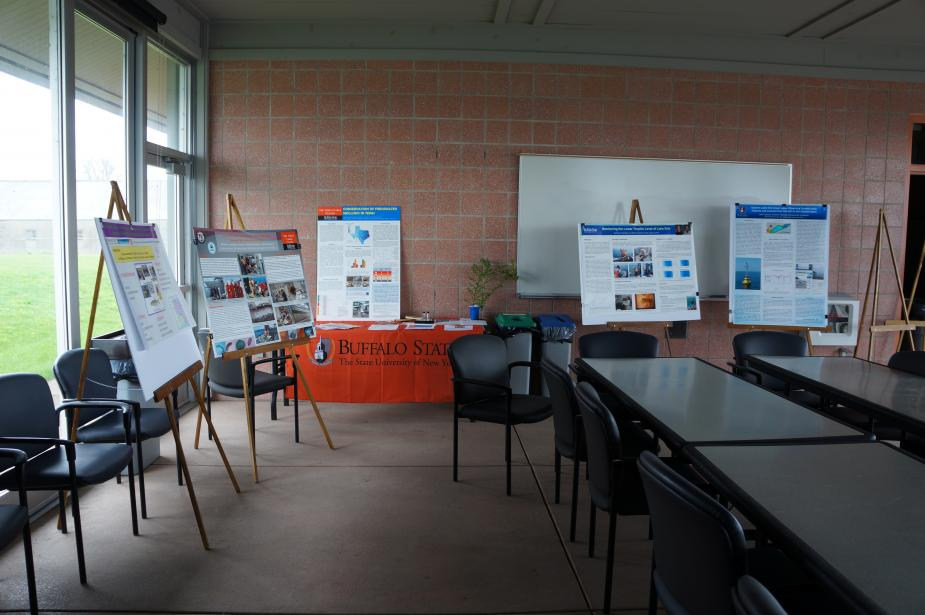 Posters set up on easels in an empty room