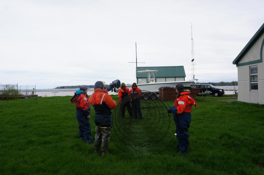 Students in flotation suits hold a conical trap net open on land. The picture is taken from front-on, looking toward the opening of the net.