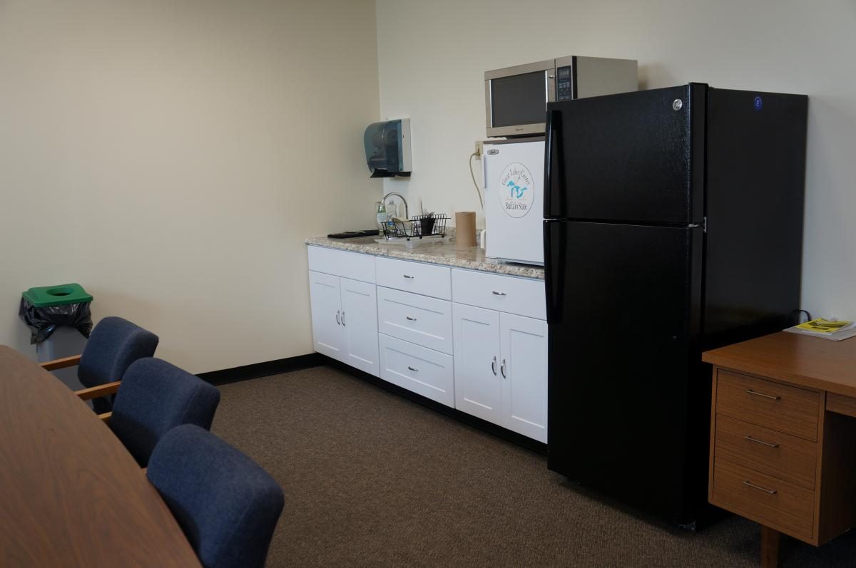 A kitchenette in a conference room.