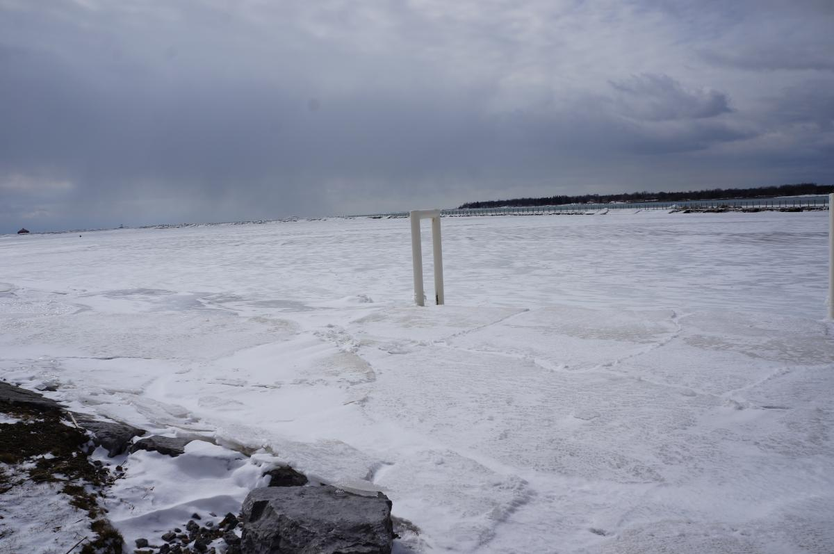 Ice along the shoreline with a metal pipe sticking up through it.