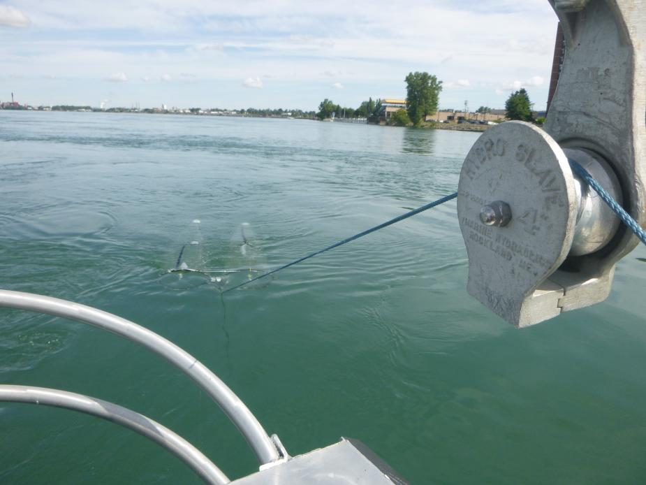 Rope going from a block and tackle back to a net being towed through the water, just visible below the surface