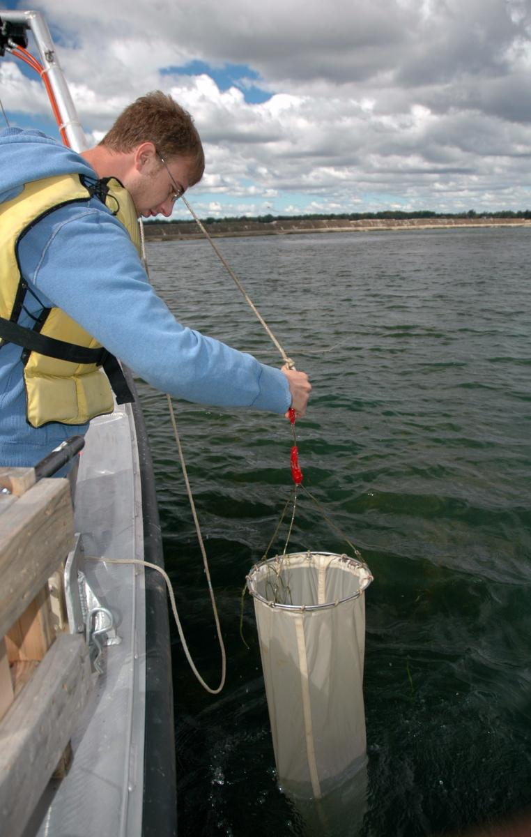 a student at the edge of the boat pulls up sampling equipment. The long fabric net is partway out of the water.