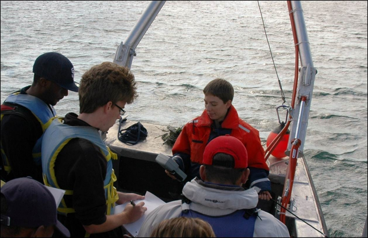 a person holds a research instrument at the front of a boat while a group of people take notes