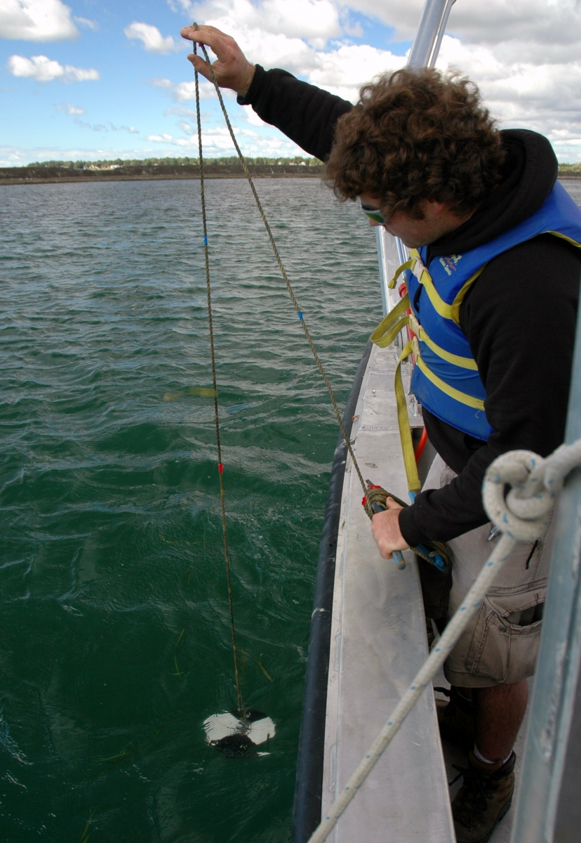 a person standing at the edge of a boat holds up a rope with a black and white disk attached