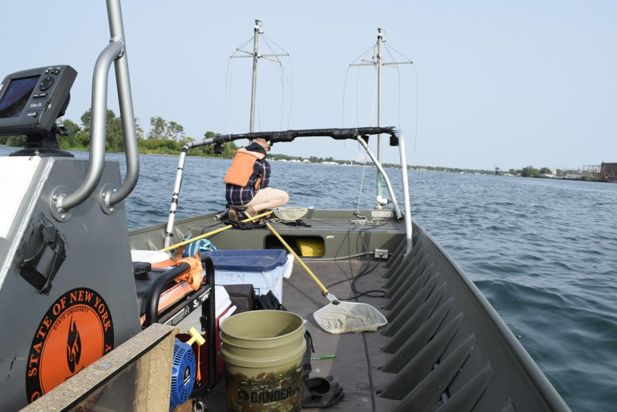 A view taken from the back of a small boat. A person crouches at the front of a boat. The boat has two poles at the front with wires dangling from them. There are nets and buckets on the deck of the boat.