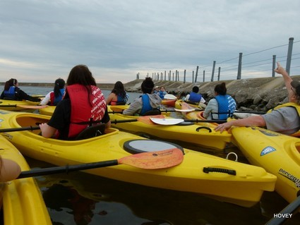 Several people in kayaks clustered near a break wall. One points above their head.
