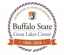 "Round Logo ""Buffalo State Great Lakes Center, 1966-2016, Celebrating 50 years of research"" with the Buffalo State crest"