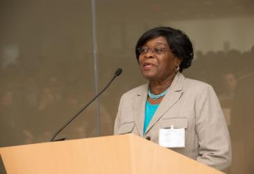 Legislator Betty Jean Grant speaks at the 50th anniversary.