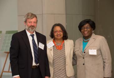 Dr. Alexander Karatayev, President Katherine Conway-Turner, and Legislator Betty Jean Grant.