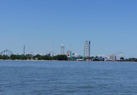 Roller coasters as seen from the water