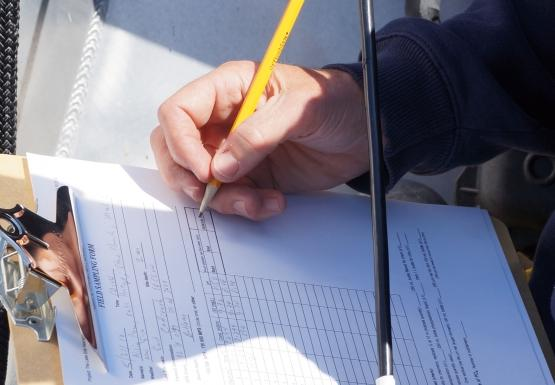 A person holding an instrument and recording the numbers on a data sheet on a clipboard