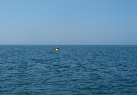 A yellow buoy sits in the water near the horizon