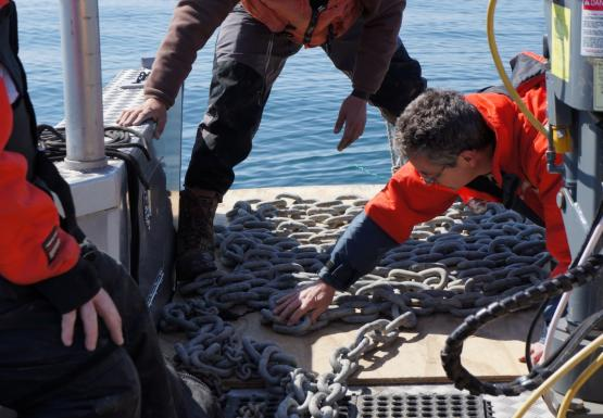 Two people work to neatly lay out a chain in the bow of a boat