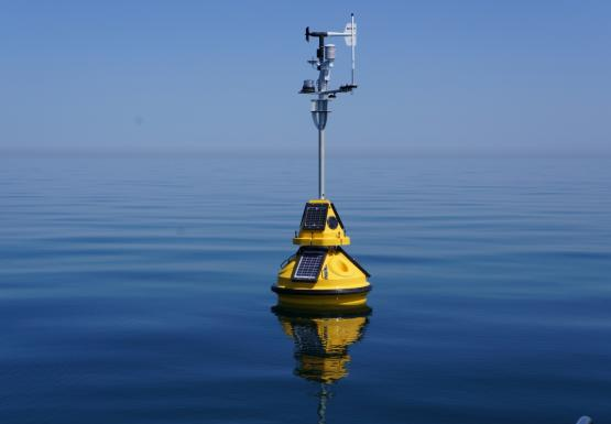 A yellow buoy floating on calm water