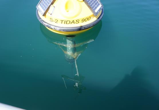 A picture looking through water to the mooring system on the underside of a yellow buoy. The top of the buoy is reflected in the water.