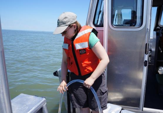 Katie collects a water sample