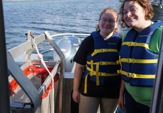 Susie and Brianne preparing to use a benthic sled in Buffalo Harbor