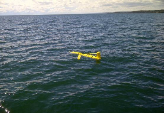 A yellow robot that is shaped like a plane sits at the surface of the water.