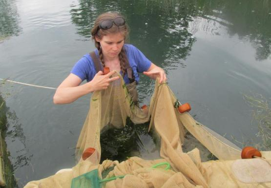 A person wearing chest waders stands in water up to their waste. They are holding and manipulating a net with floats on it.