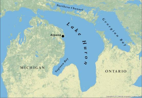 A map of Lake Huron, the Northern Channel, Georgian Bay, and Saginaw Bay. Alpena, Michigan is also labeled.