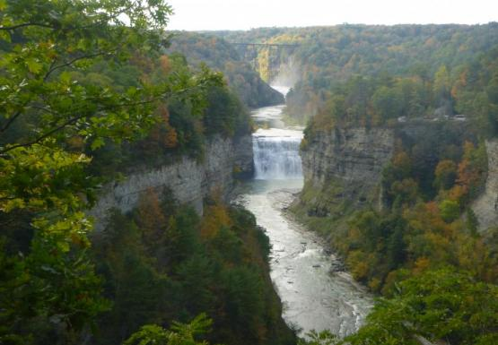A view of Upper and Middle Falls in Letchworth State Park, NY.