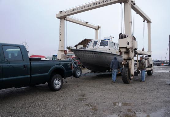 Putting the boat into the travel lift