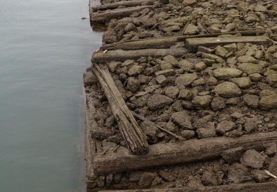 The entire shape of algae-covered stone and wood cribbing is visible above the water.