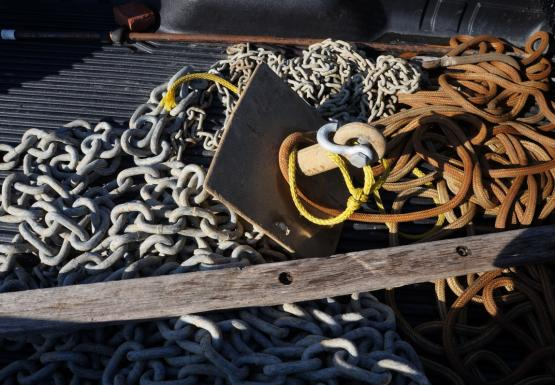 An anchor, chain, and rope sit in the back of a truck.