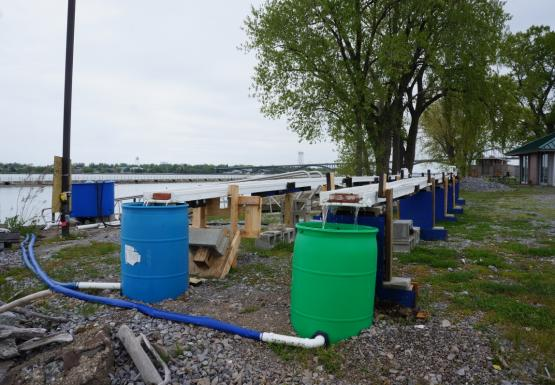 two long thin troughs held up about three feet from the ground with a round barrel at the end of each, set up on the waterfront.