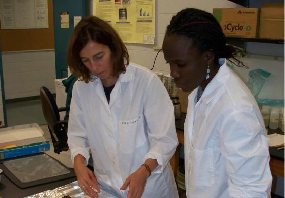 Dr. Pérez and student examine steelhead trout