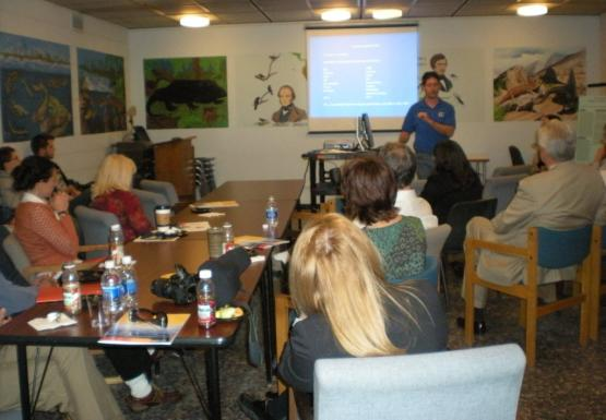 Chris presenting at the open house