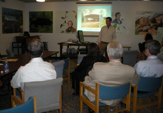 Mark presenting at the open house