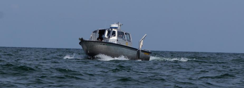 Research vessel John J. Freidhoff cruising on Lake Erie