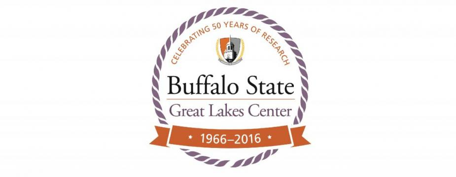 "Round logo ""Buffalo State Great Lakes Center 1966-2016 Celebrating 50 years of Research"""