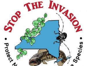 "logo of NY with a plant, a beetle, and a fish ""Stop the invasion, protect New York from invasive species"""
