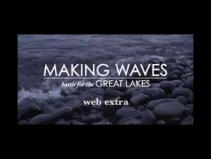 "screenshot of title screen ""Making Waves: Battle for the Great Lakes - Web Extra"" with rocks and waves behind"