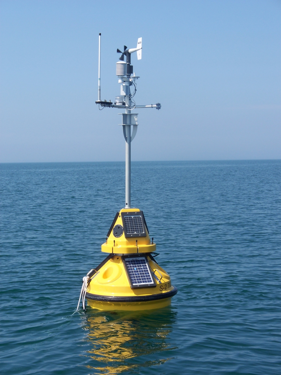yellow GLOS buoy in Lake Erie