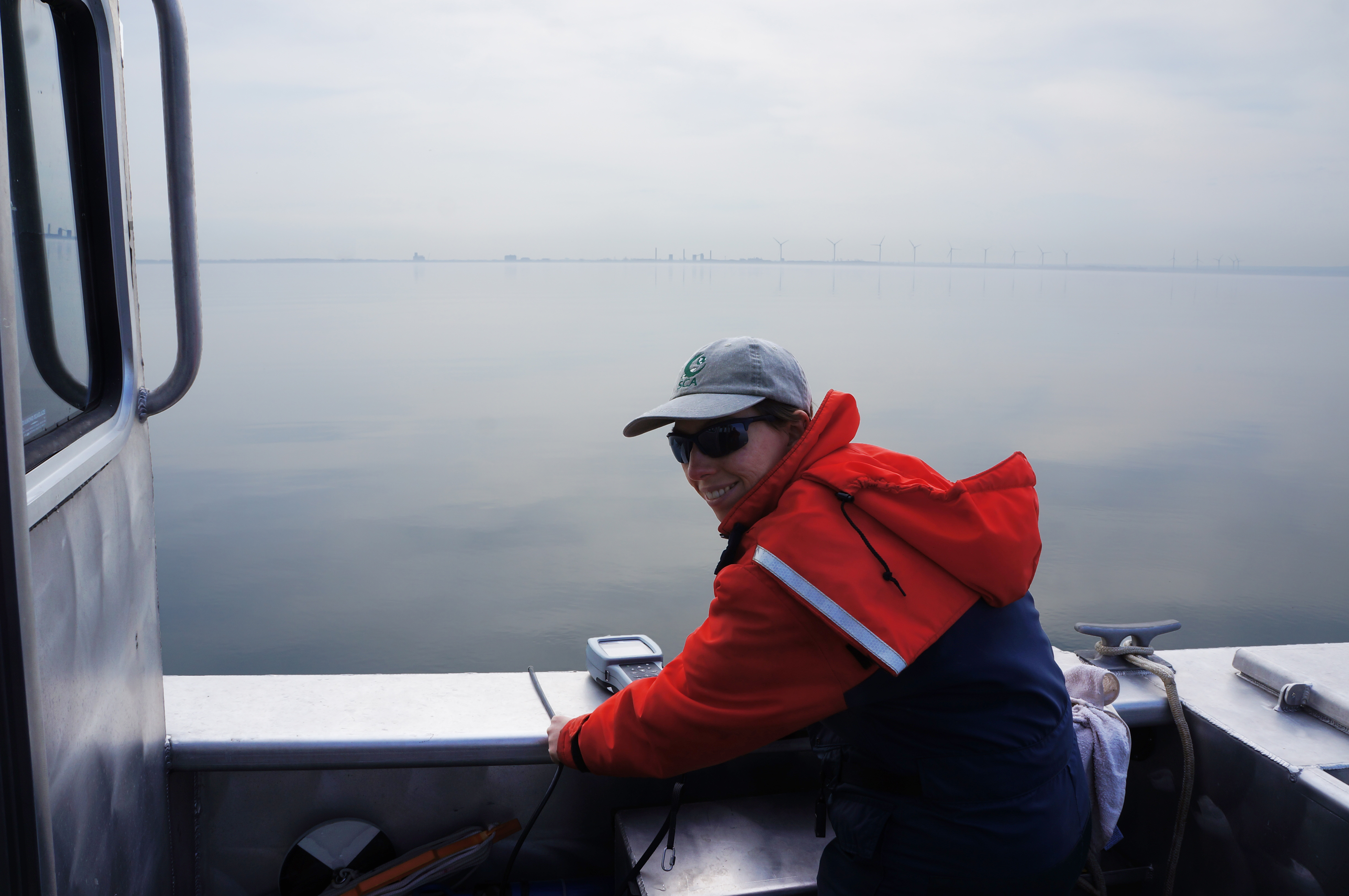 Katie Hastings collecting a temperature profile on Lake Erie