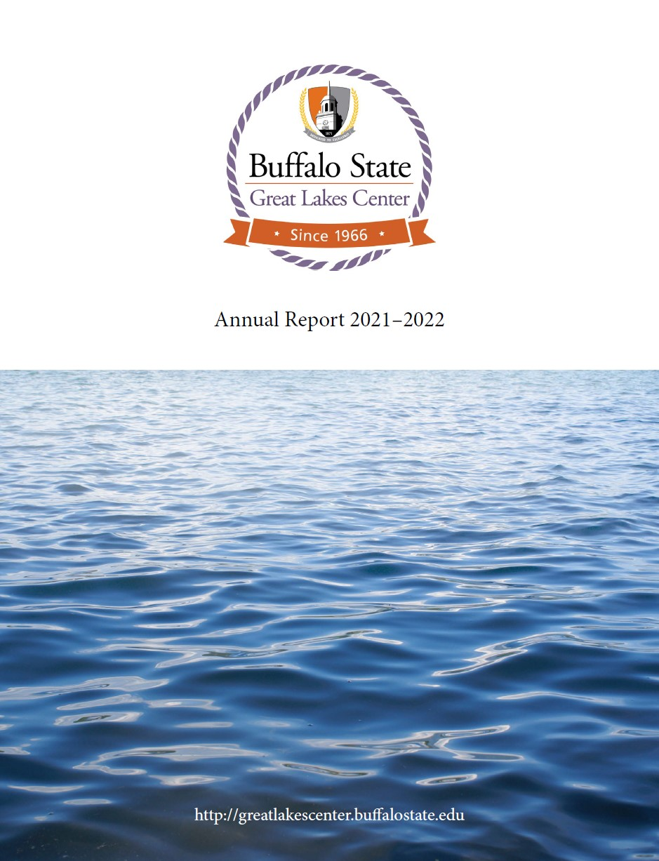booklet cover for Annual Report 2015-2016 with GLC logo on white background on upper and picture of water on lower