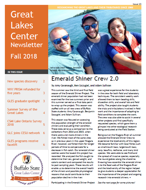first page of the Fall 2018 GLC newsletter