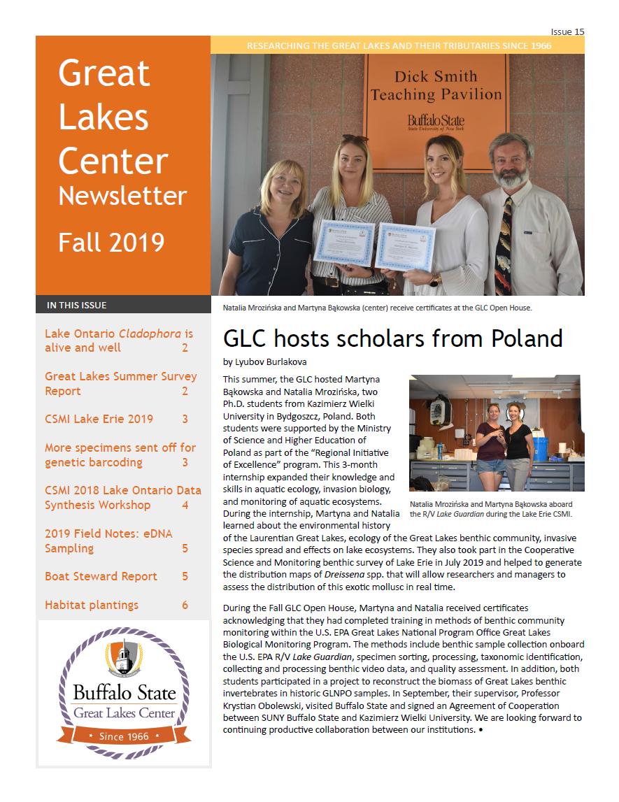 first page of the Fall 2019 GLC newsletter