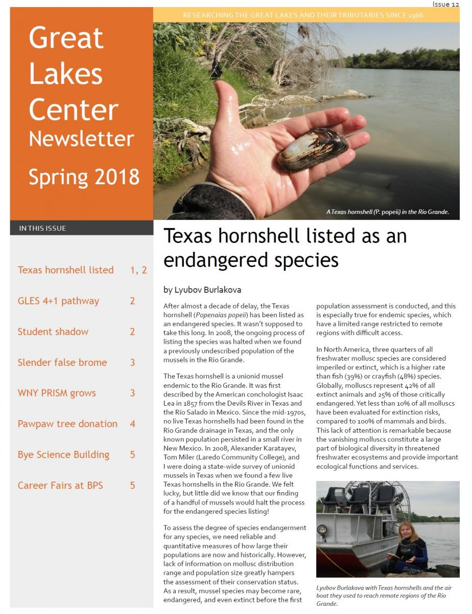 first page of the Spring 2018 GLC newsletter